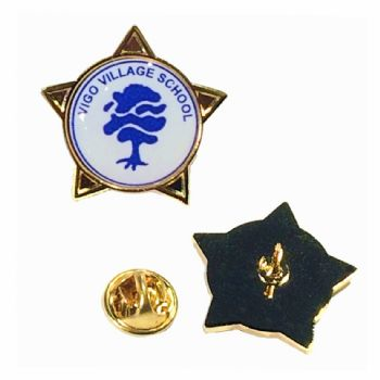 Superior Badge 18mm star gold clutch and printed dome